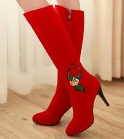 New hot fashion high heel knee leather sexy boots for women Size 34-39 free shipping