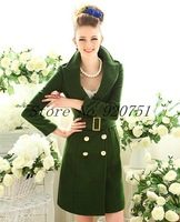 2013 New Autumn winter Double breasted wool coats Slim Hip Long Wool V-Neck Women Coat Jacket