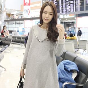 2013 autumn maternity clothing long-sleeve loose plus size fashion o-neck maternity xyc598 one-piece dress(China (Mainland))