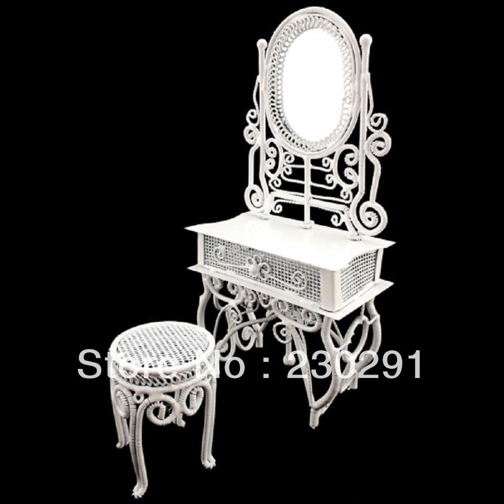 Fio branco Vanity + espelho + Chair móveis Dollhouse jóias Display Stool 1:12 boneca(China (Mainland))