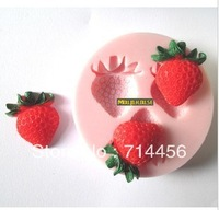 Free shipping silicone strawberry shape fondant cake mold,candle mold,chocolate mold,soap mold,bakeware DIY tools