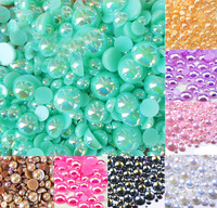 Free shipping1000 Blue Green AB Size from 2-10mm Craft ABS Resin Flatback Half Round Pearl Flatback Scrapbook Beads Jewelry DIY