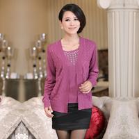 2013 women's slim thin cutout plus size sweater women faux two piece set
