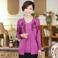 2013 quinquagenarian women's autumn mother clothing autumn faux two piece sweater