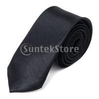Free Shipping Unisex Casual Necktie Skinny Slim Narrow Neck Tie - Solid Black