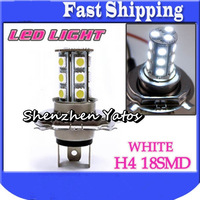 Hot sale 10Pcs H4 5050 SMD 18LED Fog Headlight Lamp Bulbs Xenon White Lights DC 12V