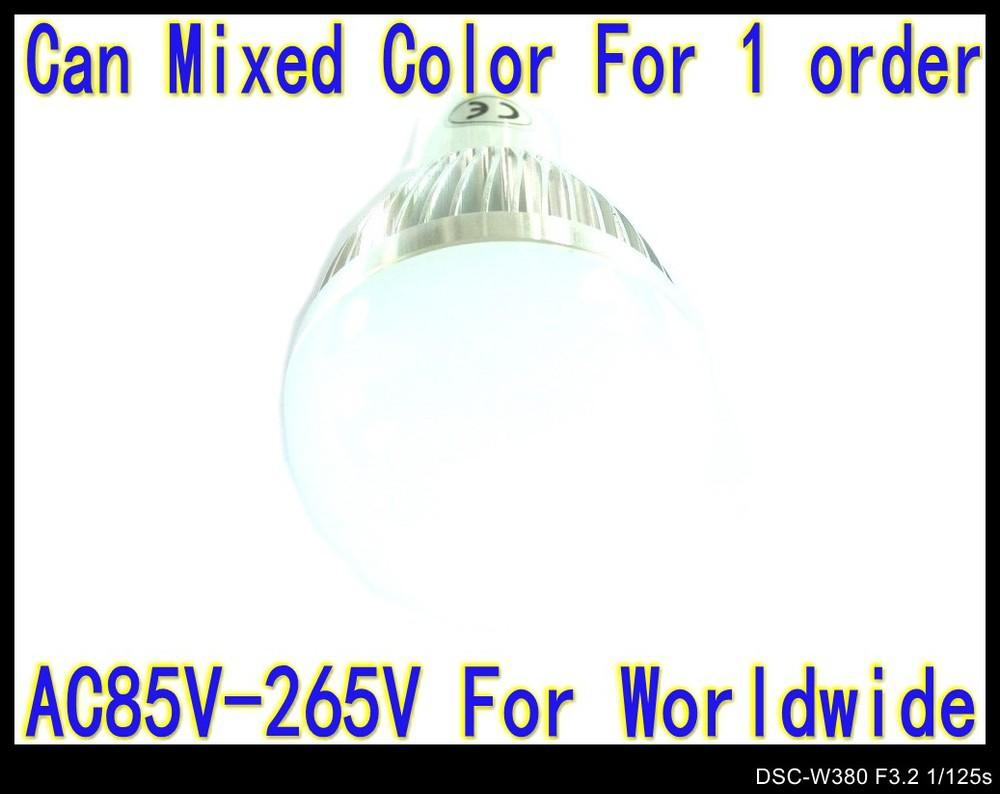 High power 3W AC85V---265v Globe lamp GU10 base LED lamp silver color 2PCS/LOT spot light down lights 6 colors LB36(China (Mainland))