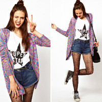 blouses for women 2014 korean style cardigan printing sweaters for women , free shipping  SW004