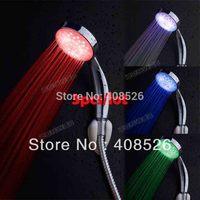 3pcs/lot wholesale Multiple Color 7 colors Colorful Automatic Jump Changing Water Flow Shower Head Bath LED Handle 18276