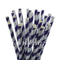 Free shipping wholesale paper drinking straws party supply wedding supplies stripe purple color 500pcs