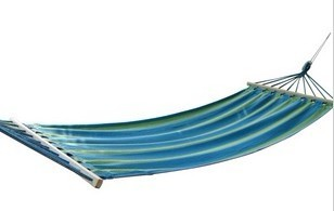 Hammock sail blue striped oxford fabric wood rod hammock indoor outdoor