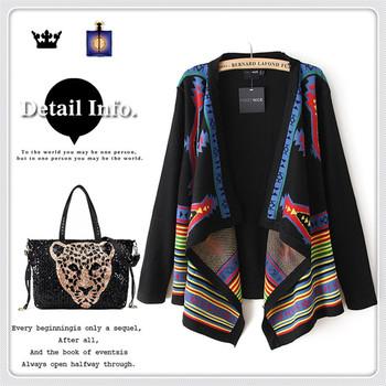 freeshipping Fashion women's geometry national sweater trend cardigan