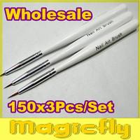 [PFL-030] 150x3Pcs/Set Nail Art Design Brushes Gel Set Painting Draw Pen Polish Brush set White Handle+Free Shipping