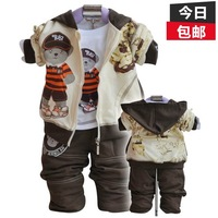 New Arrival Infant set open file 100% cotton male child sweatshirt piece set baby autumn cartoon  Free Shipping