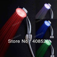 ABS Plastic Multiple Color 7 colors Colorful Automatic Jump Changing Water Flow Shower Head Bath LED Handle 18276