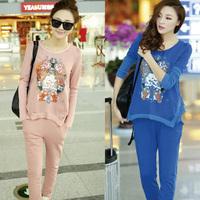 European 2013 Fashion Designer Autumn -Summer Clothes Sets  Pink Track Suit Printing Women's Sportswear Hoodies & Sweatshirts