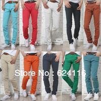 M22 New Fashion Candy Color Men's Pants Trousers Pencil Pants Jeans with Zipper M L XL XXL