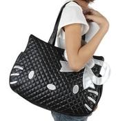 2013 new Hello kitty bag black women's shoulder bag women hello kitty handbag Girl leather bag Female large tote bags Dropship