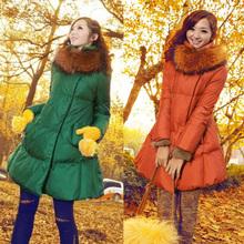 Free shipping / maternity winter / feather padded / 2014 Nagymaros collar coat Korean yards pregnant / long sections(China (Mainland))