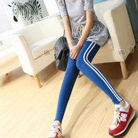 Spring new arrival Women elastic slim stripe picotee ankle length trousers legging  (Free shipping)