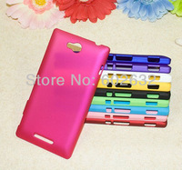 20pcs/lot free shipping High Quality Rubber Hard Plastic Matte Back Case for Sony Xperia C s39h C2305