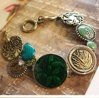 Fashion vintage green gem vintage bracelet sculpture flower oil green wafer bracelet  free shipping