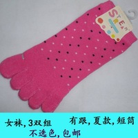 Free shipping  3pairs/lot  5 five fingers socks 5 five-toe cotton socks thin flower cartoon female short sock slippers