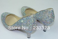 Free dropship diamond shining kid high heels Red Bottom 8cm low heels