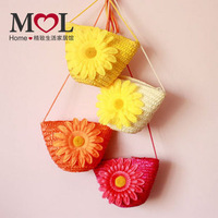 Fashion Sweet Baby Children Girl Straw Flower Messenger Bag Cute Street Diagonal Bag Free Shipping