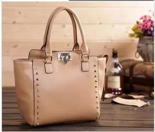 Promotion! New 2014 leather bags women's cowhide designer handbag the rivet spike messenger female bag brand shoulder handbags