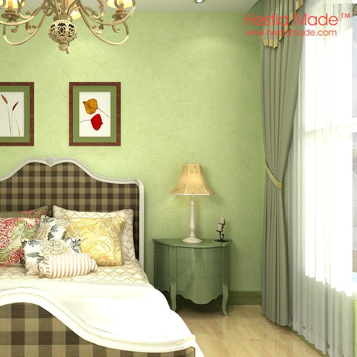 colour light green wallpaper for modern simple bedroom wall