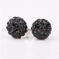 Tres-or Style Austrian Crystal Black Clay Ball SHAMBALA Silver Stud Earrings