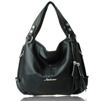 2013 women's handbag black big bags women's tassel handbag work bag shoulder bag messenger bag