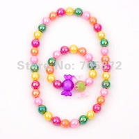 Pretty Girls Luster Multicolor 11.5mm Bead Necklace Bracelet Candy Jewelry Set Party Gift Wholesale 24sets Free Shipping FKJ0089