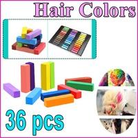 New 36Pcs Fashion Non-toxic Temporary Color Hair Chalk Dye Pastels ,Free Shipping Dropshipping