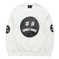 Blue 2 circle hba smiley baseball shirt black white pullover sweatshirt male hba-2 ml