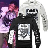 Free shipping  Hba sweatshirt hood by air rugby print 100% long-sleeve cotton sweatshirt male