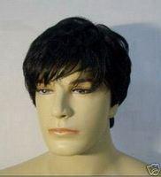 Wholesale Hot Sell! New Men's short black synthetic fibre hair full wig  +Free weaving cap@003