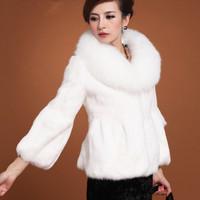 Faux fur coat large fox fur female short design rabbit fur outerwear