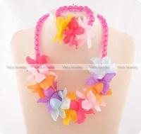Girls Romantic Flowers Elastic Pink Necklace Bracelet Set Children Jewellery Party Gift Accessories Wholesale 24sets/lot FKJ0010