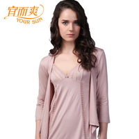 2013 women's super soft silky shirt home modal elastic lounge three quarter sleeve outerwear