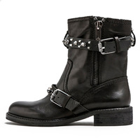2013 first layer of cowhide rivet buckle in with the boots female boots motorcycle boots