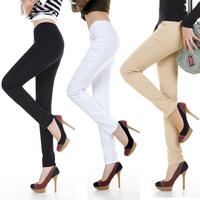 2014 Autumn Brand Women OL Plus Size Elastic Mid Waist Leggings,Skinny Pencil Pants,Candy Color Trousers Elastic Waist Big W329