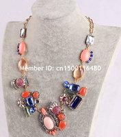 Fashion Women Jewelry Gold Chain Colorful Flower Bubble Bib Rhinestone Statement Necklace