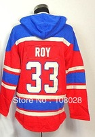 Free shipping,Ice Hockey Hoodie Jerseys,#33 Patrick Roy Men's Hooded Sweatshirt,Embroidery logos,Size M-XXL,Mix Order