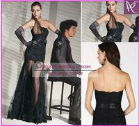 AWB3159 Fashion Arabic Black Sexy Front Short Long Back Lace Tulle Sashes Decoration Long Evening Dress 2014