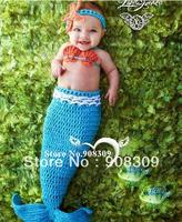Cute Newborn Baby Girls Infant Hand Knit Crochet Mermaid Costume Headwear Shell Bra Photography Props 0-12 Months Free Shipping