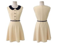 Sleeveless peter pan collar chiffon one-piece dress summer 2013 women's professional dress sexy belt 3079