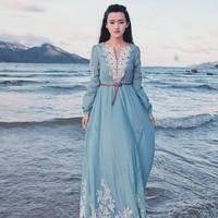 2014 Spring Summer New Arrival  Sky Blue Color Knit Vintage Style V-Neck  Maxi Dress Bohemian Long Dress Plus Size S- L MYB56415