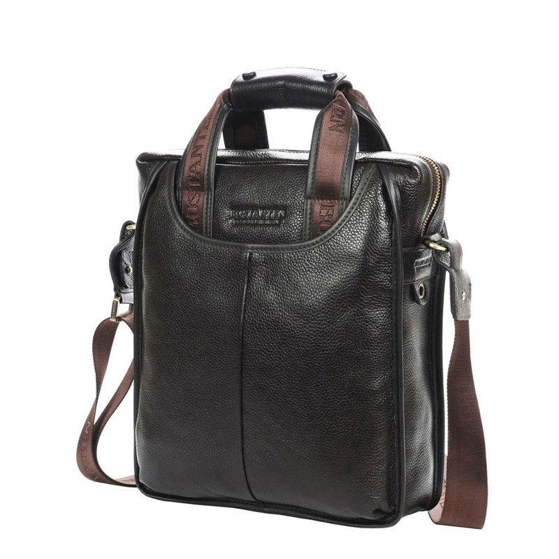 Spedizione gratuita 100% in vera pelle di vacchetta spalla per il tempo libero degli uomini borsa a tracolla di business portatile valigetta del computer portatile borsa casual